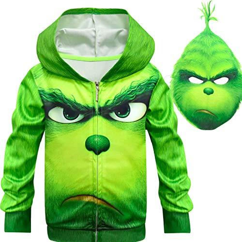 Kinder Hoodie Grinch Langarm-Baumwoll-Pullover Tops Kinder Cartoon Animal Prints Pullover Pullover Für Kinder Green (Green 1,150cm)