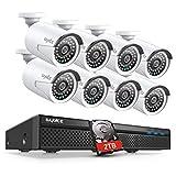 SANNCE 1080P Sistema de Seguridad PoE NVR 8CH 1080P y 8 Cámaras IP de vigilancia 2MP Visión Nocturna hasta 50m IP66 Impermeable Interior/Exterior-2TB HDD