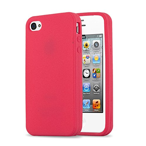 Cadorabo Hülle für Apple iPhone 4 / iPhone 4S - Hülle in Frosty ROT – Hardcase Handyhülle im matten Frosty Design - Schutzhülle Bumper Back Case Cover