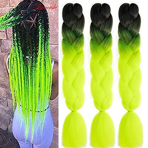 Kanekalon Premium Jumbo Ombre Box Braids Hair Extension 24″, Flechten Kunsthaar Zöpfe Haarverlängerung (60 cm), 3pcs/300g (Schwarz/Neon Gelb)
