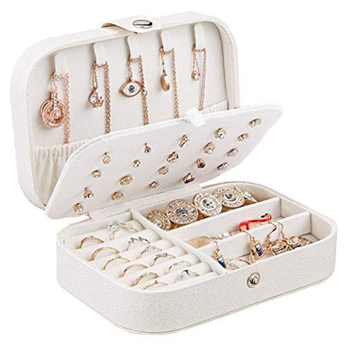 Mimitool Organizador de Caja de joyería, Caja de Almacenamiento de Joyas de Cuero pequeño para Anillos Pendientes Collar Pulseras Joyas Caja de Regalo para niñas Mujeres (Color : White)