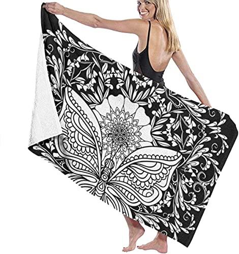 Toalla de baño grande de poliéster Mandala blanca, toalla de playa ligera absorbente 130 x 80 cm, suave, secado rápido