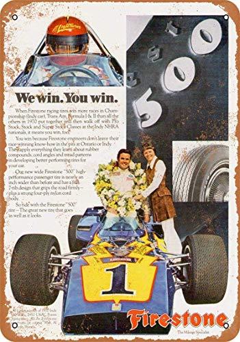 Hdadwy 1971 Al Unser para neumáticos Firestone Cartel de chapa retro para Club Bar Cafe Decoración de pared para el hogar 8 x 12 pulgadas