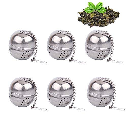 Infusore da Tè, Acciaio INOX colino da tè a sfera, palla piccola Tea filtro, filtro per tè, spezie, LOOSE Leaf strainer – Catena stile (confezione da 6) Silver