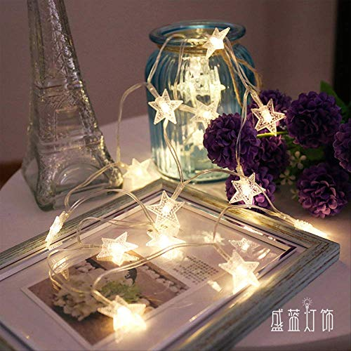 CFLFDC Cadena de luz Luces De Estrellaa Niña Propuso Cumpleaños Interior Y Exterior Decorativo De La Cadena De La Lámpara Luz fría 10 m 80 luz (caja de batería siempre encendida)