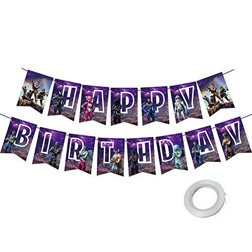 BESLIME Video Game Partyzubehör, Videospiel Party Zubehör Happy Birthday Gaming Banner für Gaming Thema Jungen Geburtstagsfeier Spiel Party Deko (lila)