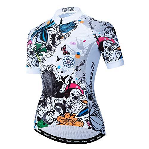 Radtrikot für Damen, Mountainbike-Trikot, Sommer-Radbekleidung, schnelltrocknend, kurzärmelig, Cf2278, M Brust 83/90 cm