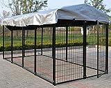 Omitree New Modular Dog Kennel Heavy Duty Welded Steel Panel Pet Cover 5' W x 10' L x 5.5' H
