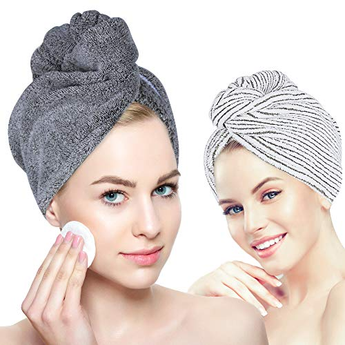 Organic Bamboo Hair Towel - Laluztop Hair Drying Towel Turban Wrap with Button, Anti Frizz Absorbent & Soft Bath Cap for Curly, Long Thick Hair(2 PACK) (Large, White & Dark Gray)
