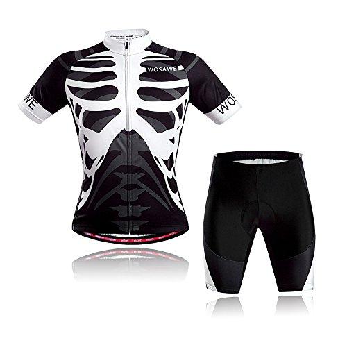 WOSAWE Abbigliamento Ciclismo da Uomo Asciutto Rapido Respirabile Maglia Manica Corta + 3D Imbottiti Pantaloncini da Ciclista (Scheletro S)