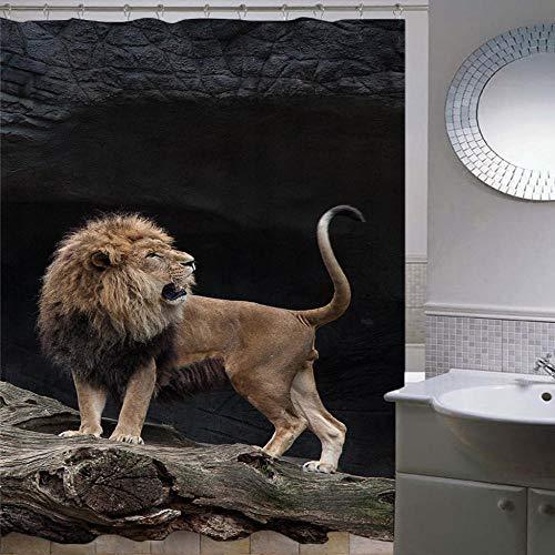 Duschvorhang 180X200Cm,Anti-Schimmel Waschbar Anti-Bakteriel Badvorhänge 3D Drucken Polyester Wasserdicht Duschvorhänge,Mit 12 C-Form Kunststoff Haken - Schwarzer Hintergrund des Löwen