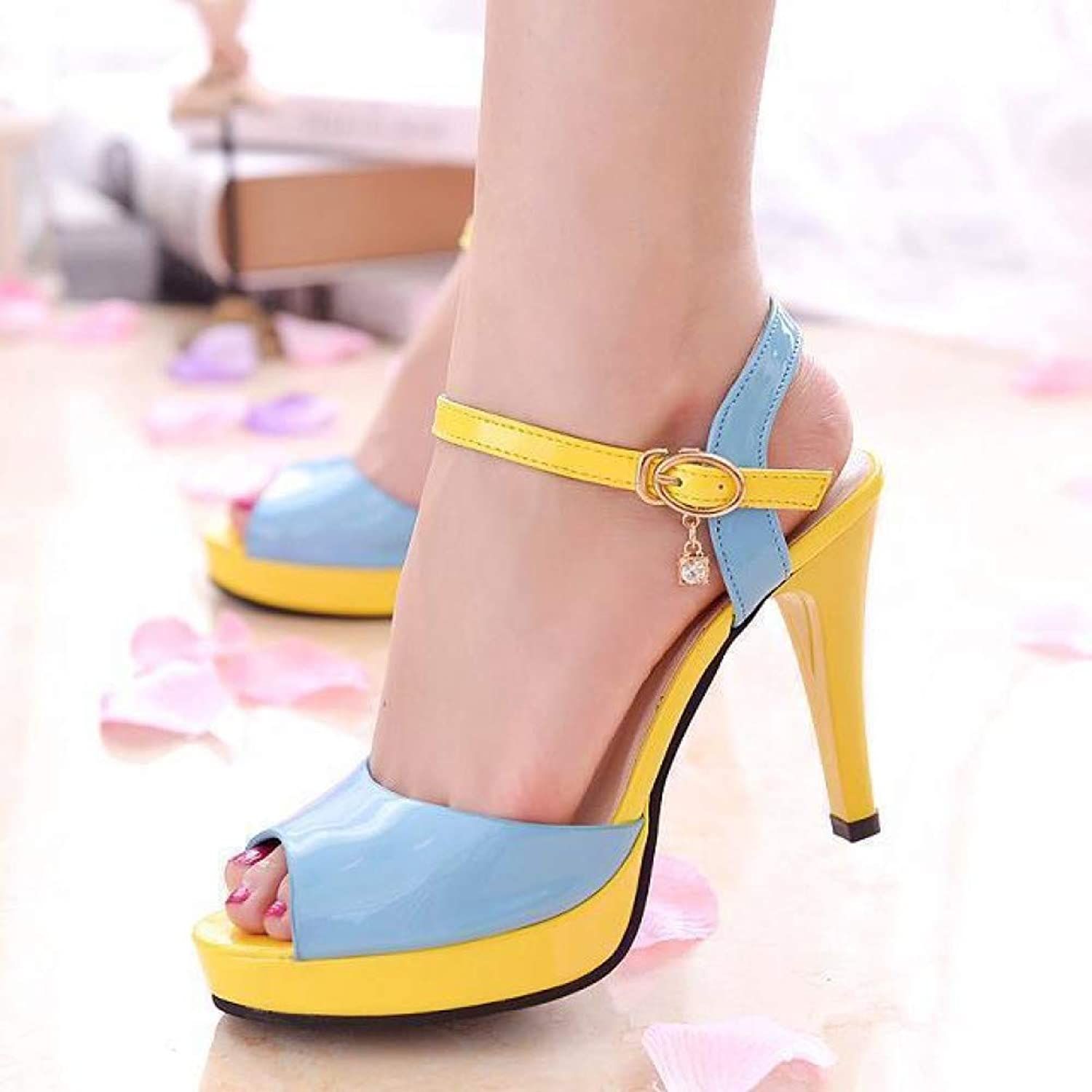 UKJSNHH igh Heels Summer Hollow Buckle Women's shoes European and American Fight color Fish Mouth Fine with High Heels Young Daily shoes size34-40
