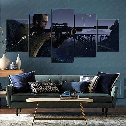 mmkow Imprimir Imagen enmarcada Videojuego de 5 Piezas Grand Theft Auto decoración de Sala de Estar 80x150cm (Marco)