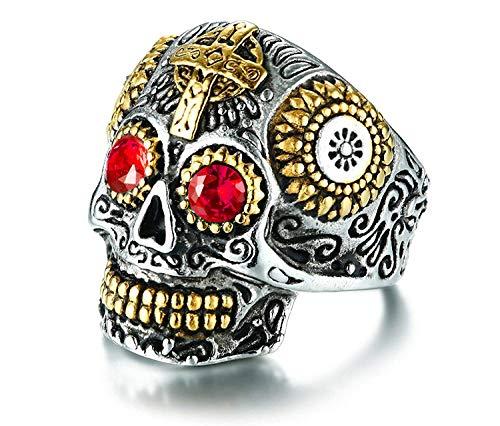 Rinspyre Men's Stainless Steel Silver Gold Gothic Cross Skull Ring Vintage Flower Carved Halloween Red Eye