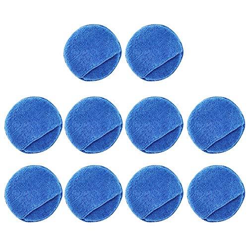 KueiMovi Mikrofaser-Autowachs-Applikator-Pads, 10 Stück, 12,7 cm Durchmesser, weicher Polierschwamm mit Tasche, zum Auftragen und Entfernen von Wachs (blau)
