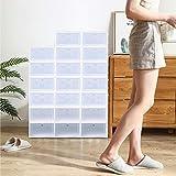 Berkalash - 20 scatole porta scarpe, scatole impilabili trasparenti, colore bianco alla moda, stabili e facili da montare
