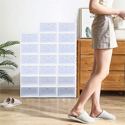 Berkalash Lot de 20 boîtes de rangement pour chaussures Boîtes empilables transparentes Blanc tendance Stable et facile à monter