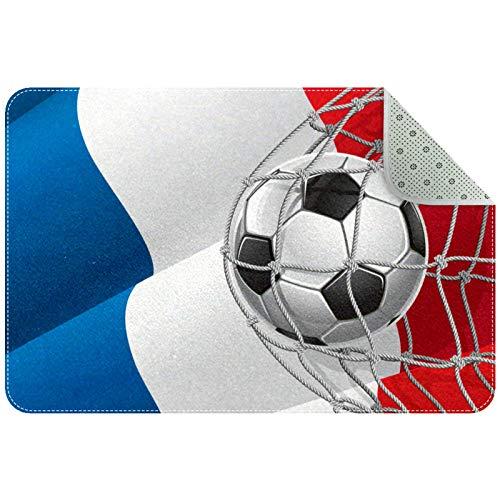 Alfombras de área 35x24 Pulgadas Bandera Francesa de un balón de fútbol en la Red Alfombra Suave Divertida Antideslizante para Sala de Estar Dormitorio Decorativo