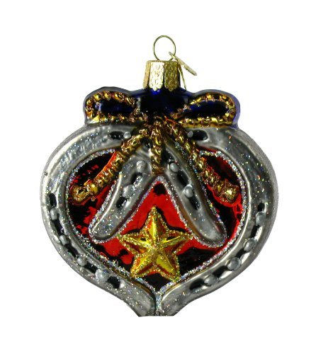 Old World Christmas Western Horseshoe Heart, 3 Glass Ornament by Old World Christmas