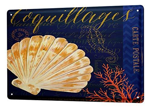 LEotiE SINCE 2004 Blechschild Wandschild 30x40 cm Vintage Retro Metallschild Restaurant Küche Kammmuscheln