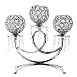 OwnMy 3 Arms Crystal Candle Holders Bowls Tealight Candelabras Candlestick Candle Stand Ornaments for Wedding Dining Table Christmas Party Home Decoration Centerpiece (Silver)