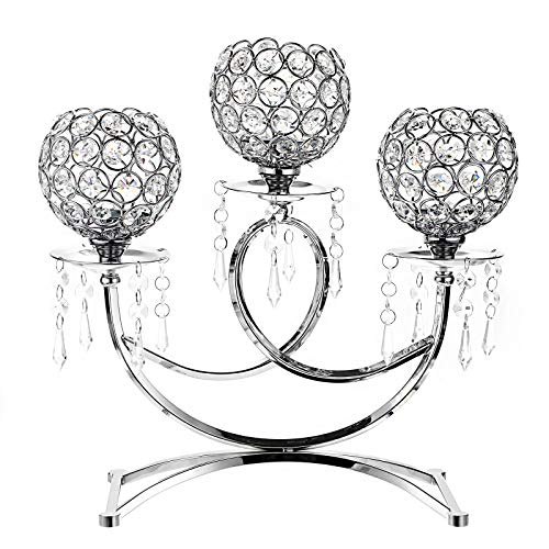 3 Arms Crystal Candle Holders Bowls Tealight Candelabras