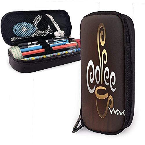 Leder Bleistiftetui Kaffeetasse Willkommen Kosmetiktasche Stifttasche mit Reißverschluss Schreibwarenhalter Tasche
