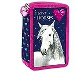 Pferd Horse Pony Einhorn 26 x Teile 2-FÄCHER FEDERTASCHE FEDERMAPPE Federmäppchen Mäppchen Inklusive Sticker v. kids4shop Herz 3D Effekt