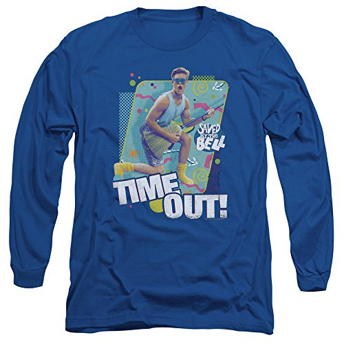 Saved By The Bell - T-shirt Time Out Hommes manches longues, X-Large, Royal Blue