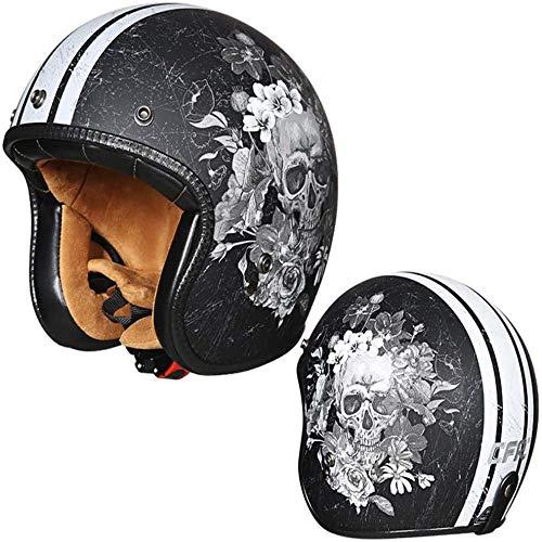 ZHXH Harley Motorradhelm Erwachsene Retro Männer und Frauen Power Car Helm Evergreen 3/4 Open Face Motorradhelm mit Sonnenschutz/Punkt genehmigt,