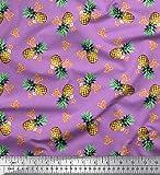 Soimoi Lila Satin Seide Stoff Pfirsich Blumen & Ananas