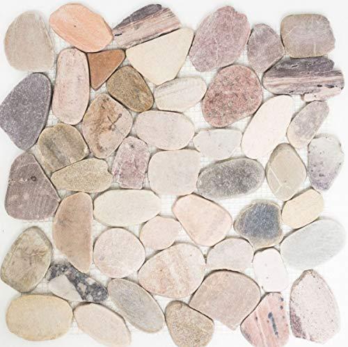 Mosaik Fliese Flußkiesel Steinkiesel Kiesel geschnitten beige grau rot MOS30-0204
