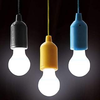 OSALADI LED Portable Colorful Drawstring Lamp Tent Camping Pull Light Bulb for Outdoor Camping Use