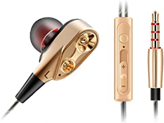 shiYsRL Wired Earphone Dual Moving Coil Heavy Bass In Ear Earphones With Mic Hifi Headphone Earbuds One Size Silver