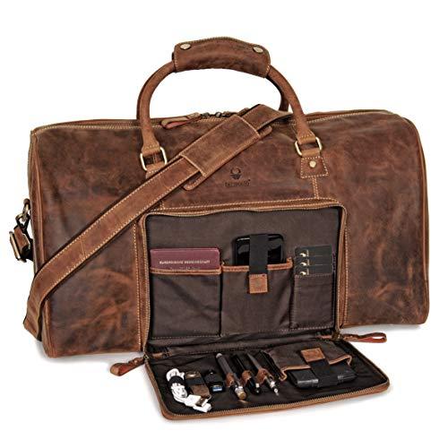 Donbolso Weekender Neapel Braun - XL Reisetasche aus Leder für Damen und Herren - Echtleder Handgepäck mit Schultergurt - 51 Liter