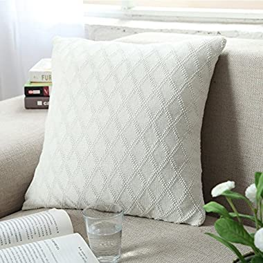 DOUH Cable Knitted Pillow Case Cushion Cover Decorative Knitting Patterns Square Warm Throw Pillow Cover with Zipper Concealed(White,18  x 18 )