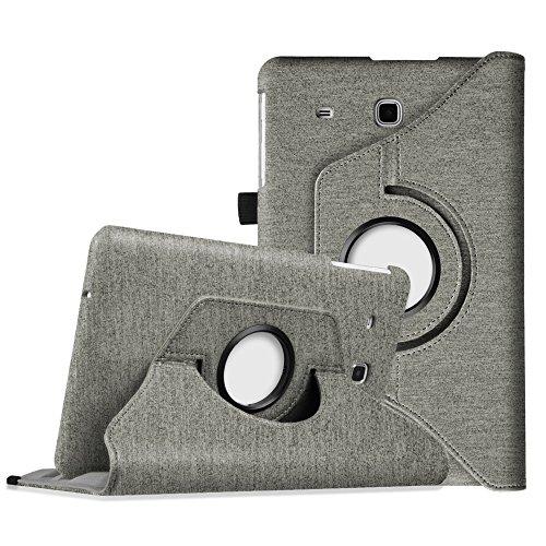 Fintie Hülle für Samsung Galaxy Tab E T560N / T561N 24,3 cm (9,6 Zoll) Tablet-PC - 360° Drehbarer Stand Cover Premium Kunstleder Schutzhülle Tasche Etui mit Ständerfunktion, Denim grau