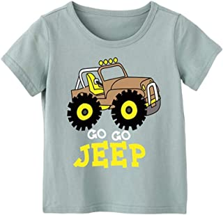 Mornyray Unisex Kids Round Collar Top Casual Summer Playwear Short Sleeve Cotton Top with Cute Jeep Printing Design Babyboy Babygirl Fashion Wild Boys Sport Bottoming Tee(3-8T)