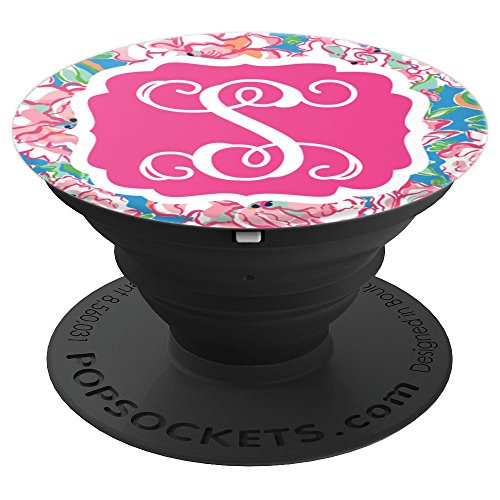 Personalized Pop Socket S Initial - Hot Pink Charm Flowers PopSockets Grip and Stand for Phones and Tablets