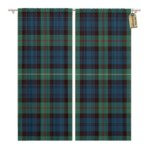 Emvency 104 x 63 Inch Decorative Drapes Tartan Blue Black Green Red and Gold Plaid Flannel Patterns Trendy Tiles 2 Panels Window Curtains for Living Room Bedroom Printed