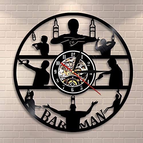 FDGFDG Barmann Wanduhr Brauen Alkohol Ale Trinken Pub Wanddekor Vinyl Schallplatte Uhr Cocktail Rezepte Wandkunst Geschenk für Barkeeper