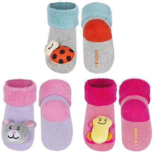 soxo Baby Rasselsocken   Größe 16-18   Antiallergisch Set für 0-12 Monate Jungen und Mädchen   3er Pack   Baumwolle Söckchen mit schönen bunten Tiermuster