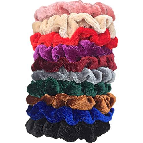 OULN1Y Bandeaux 10pcs/lot women's velvet hair Scrunchies Hair Tie Hair Accessories Ponytail Holder leopard shinny glitter strips,PJ014-D-10PCS
