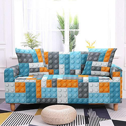 Estiramiento Funda de sofá 3 Plazas 1 Pieza Antideslizante Fundas Impresa para Sofas Sofás Cubre Sofá Ajustable Protector de Muebles 2 Fundas de Almohada Bloques Azules Y Blancos