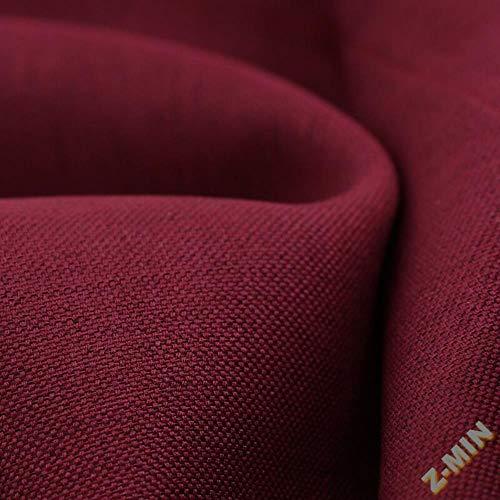 Z-MIN Cortinas a Juego de Colores Lisos de algodón y Lino Sombreado y Aislamiento acústico con Acabado Personalizado, Rojo Vino, Perforado, un Metro