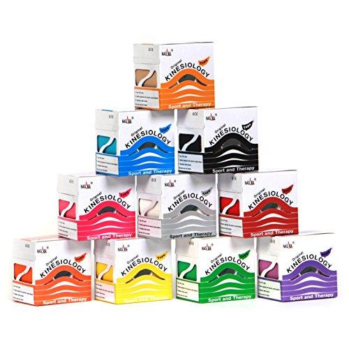 Original NASARA Kinesiologie Tape, Sparsets mit 2 bis 12 Rollen. Viel Farben und Kombinationen. Rollengröße 5cm x 5m (Viele Farben im12er Set)