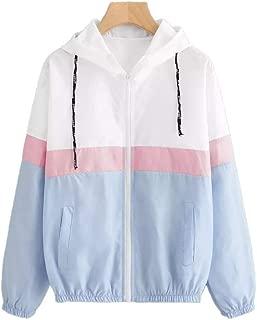 Howely Women's Lightweight Hooded Zip up Winter Fall Color Block Coat Jacket