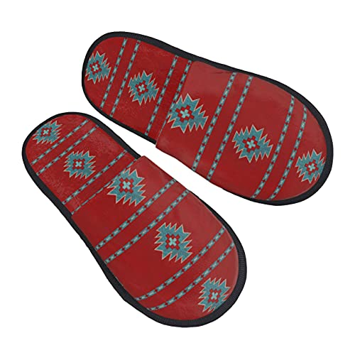 Red Western Southwest Mesas Women's Plush Fluffy Slippers Comfort Anti Slip House Shoes for Indoor & Outdoor Cool printed Slip-on