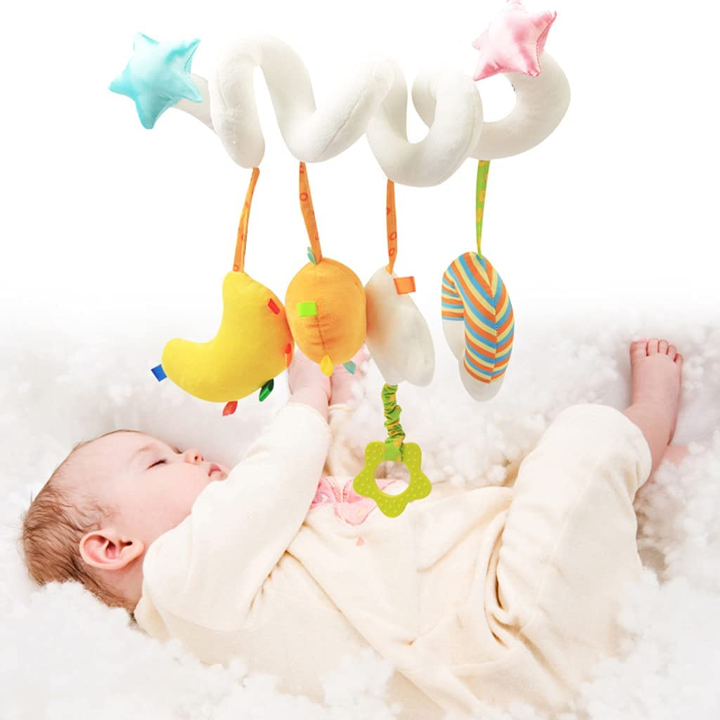 KAKIBLIN Crib Decorations Toy, Baby Crib Toy Hanging Decorations Plush Toys for Crib Bed Stroller Spiral Plush Toys Car Seat Travel Toy for Infant 3-12 Months, White