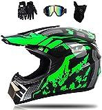 Casco da motocross, Fullface MTB, per bambini e adulti, set da motocross, nero, verde, casco da motocross, unisex, con occhiali (4 pezzi) (M)